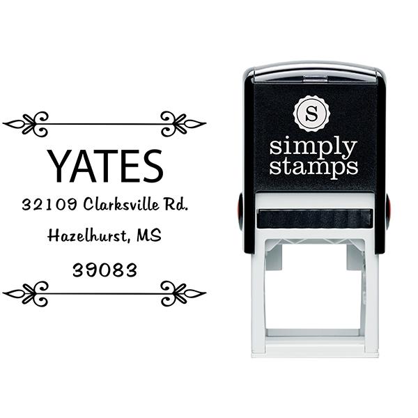 Yates Vintage Deco Square Address Stamp Body and Imprint
