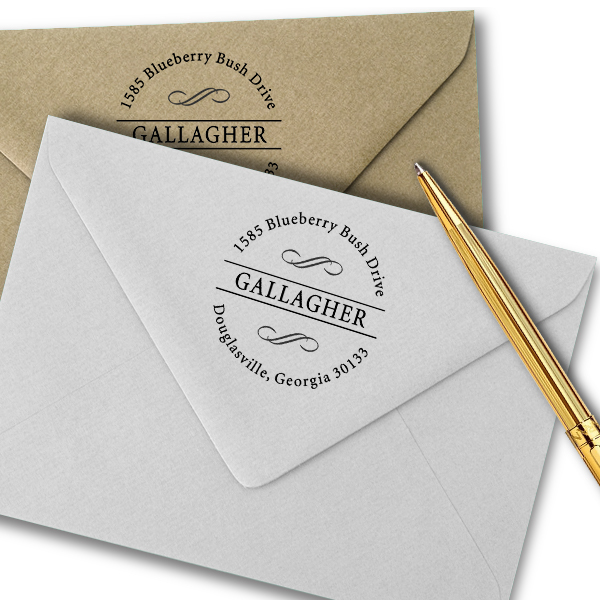 Gallagher Swirly Deco Address Stamp Imprint Examples on Envelopes