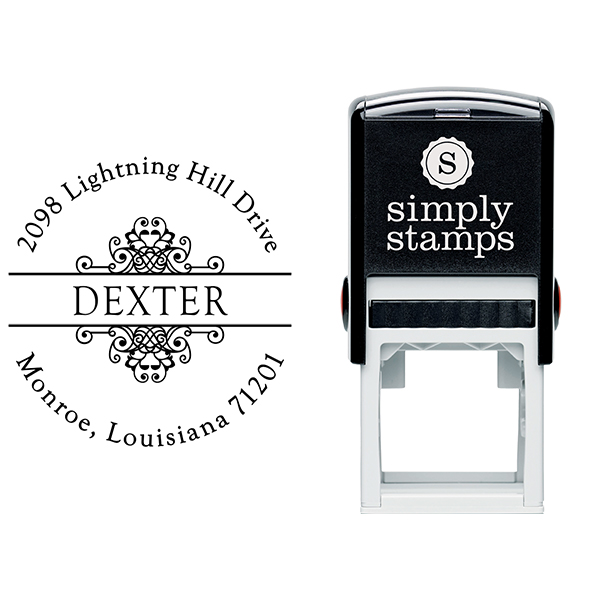 Dexter Vintage Deco Address Stamp Body and Imprint