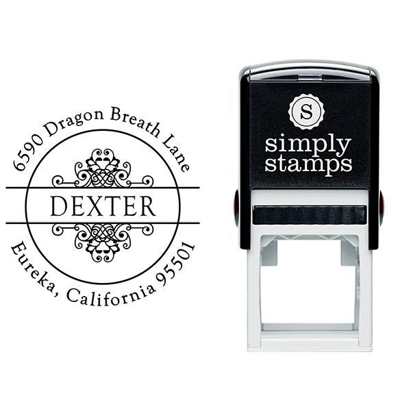 Dexter Vintage Circle Address Stamp Body and Imprint