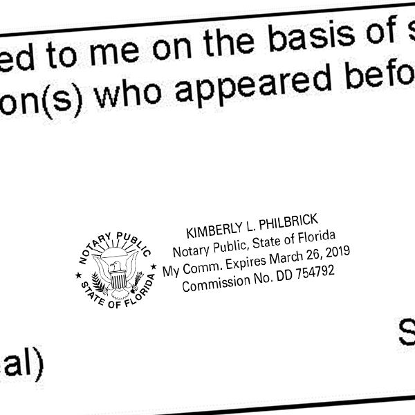 Florida Notary Public with Great Seal & Rising Sun Imprint Example