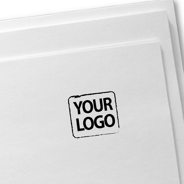 Small Custom Logo Stamp for Square Logos Imprint Example on Paper
