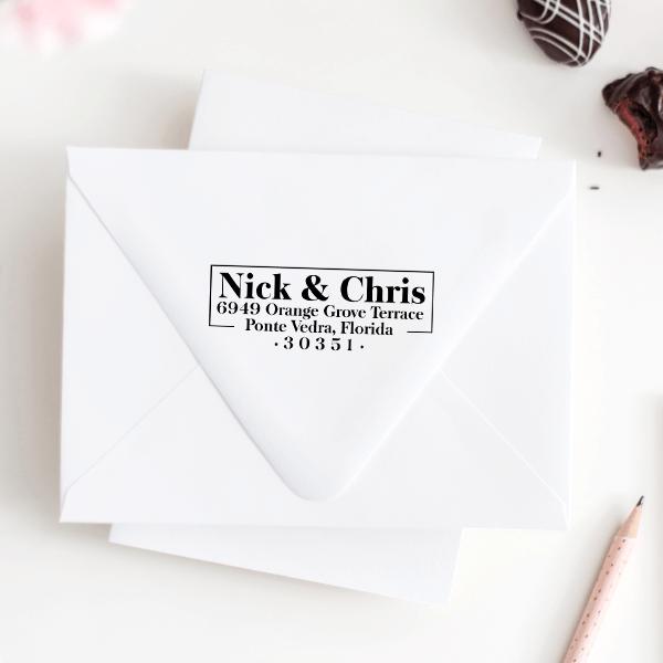 Orange Grove Couple's Address Stamp Imprint Example