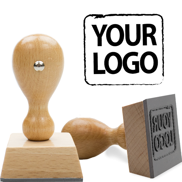 Square & Round Logo Stamp   Small Wood Handle Hand Stamp