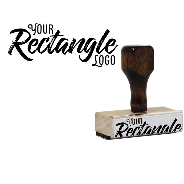 Rectangle Logo Hand Stamp   Wood Handle Body and Design