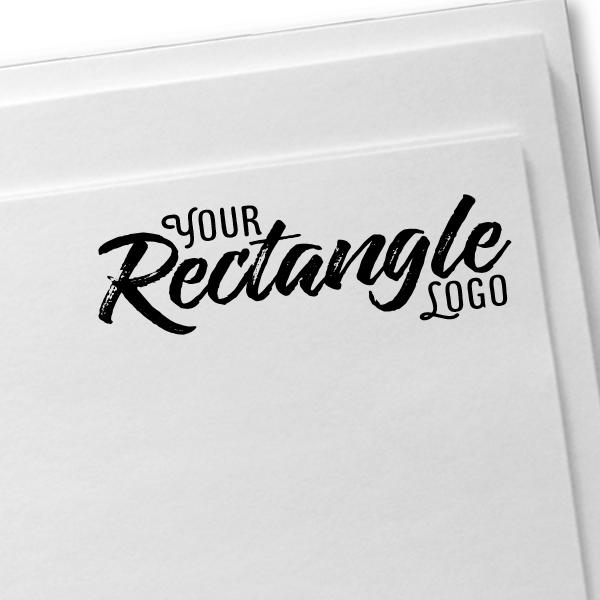 Rectangle Logo Hand Stamp   Wood Handle Imprint Example