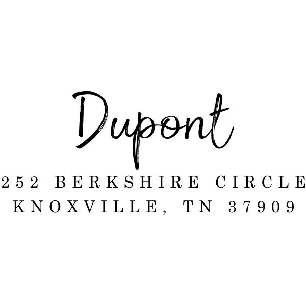 Dupont Brush Pink Address Stamp Imprint Example