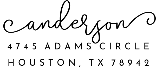 Anderson Pink Address Stamp Imprint Example