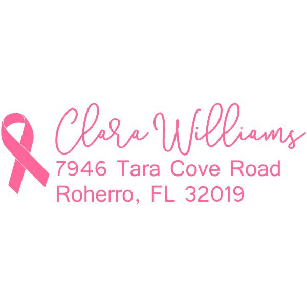 Pink Ribbon Return Address Stamp