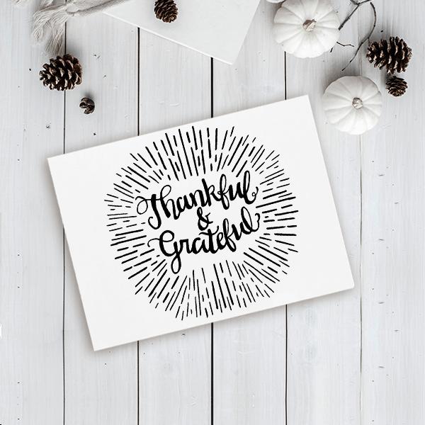 Thankful & Grateful Craft Stamp Imprint Example