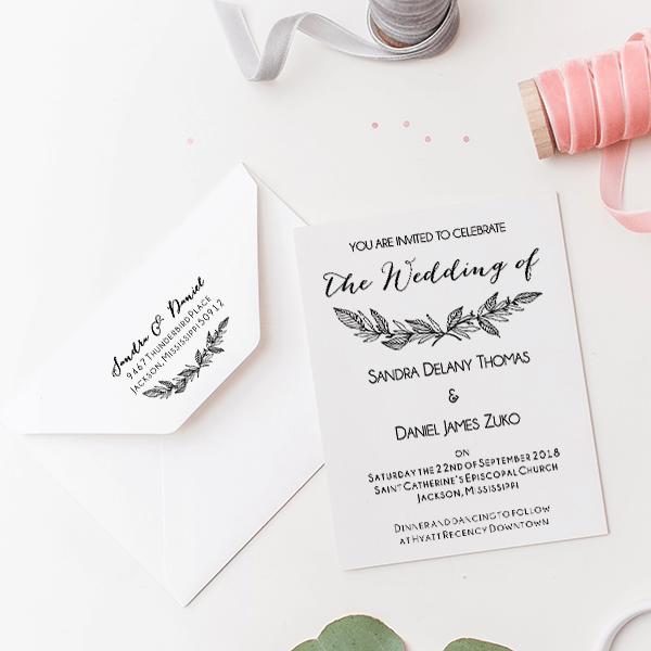 Formal Laurel Wedding Invitation Stamp Imprint Example