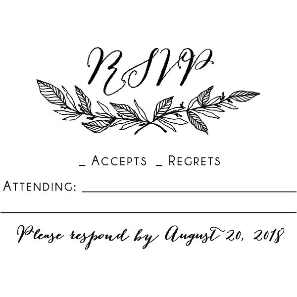 Formal Laurel Wedding RSVP Stamp