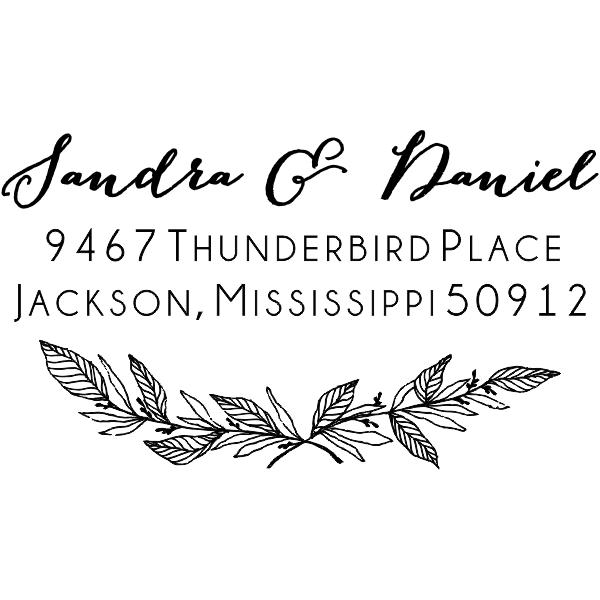 Formal Laurel Wedding Address Stamp