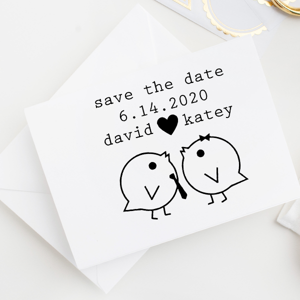 Save the Date Lovebirds Stamp Imprint Examples