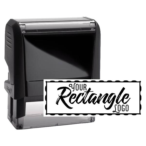 Rectangle Logo Custom Stamp with Wavy Border