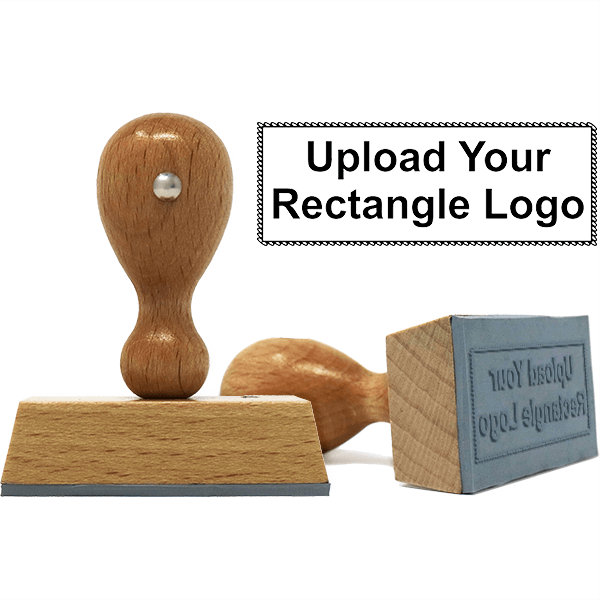 Rectangle Logo Custom Hand Stamp with Scalloped Border