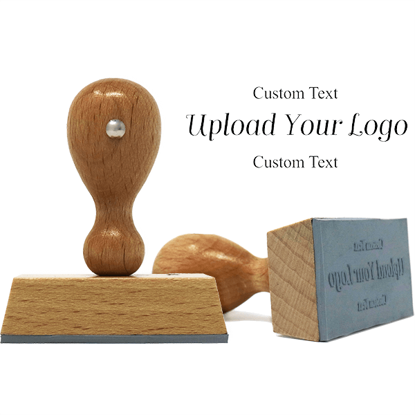 Rectangle Logo Custom Hand Stamp with Text Above and Text Below
