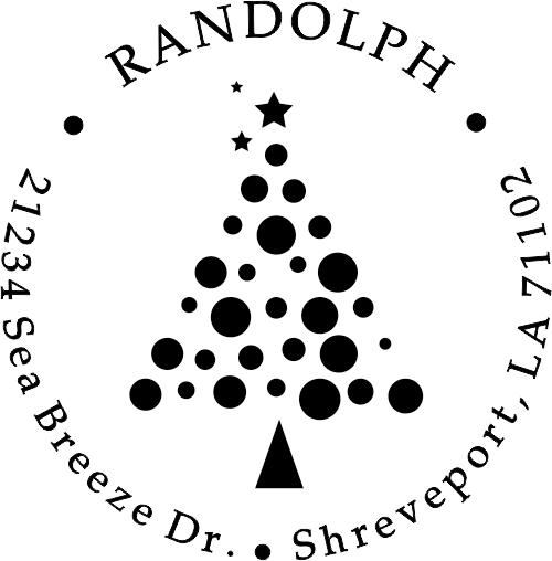 Polka Dot Ornament Christmas Tree Custom Return Address Stamp