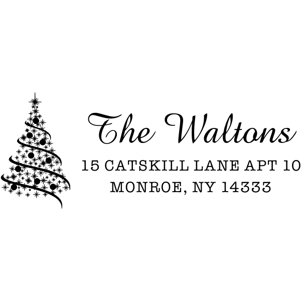 holiday tree address stamp