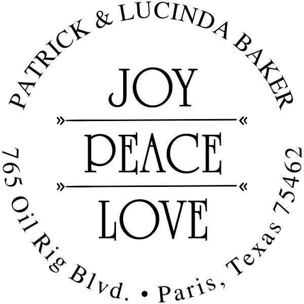 Joy Peace Love Return Address Stamp