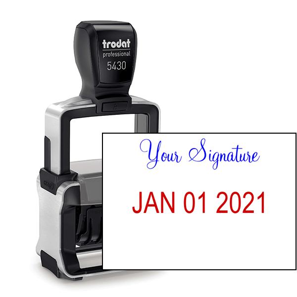 Trodat Professional Custom Signature Above Date Dater Stamp