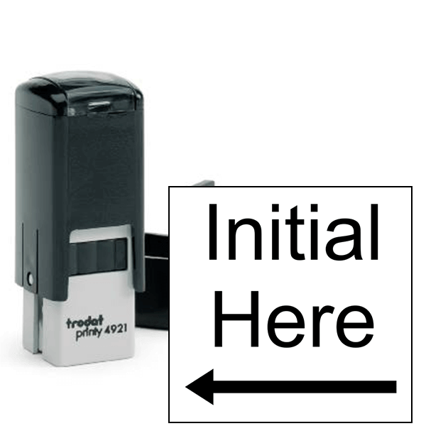 Initial Here Left Arrow Self Inking Stamp