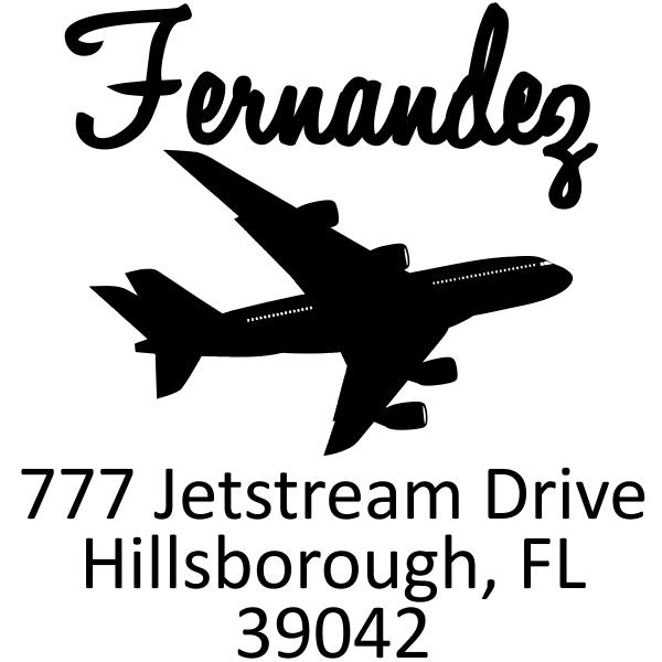 Plane Silhouette Return Address Stamp