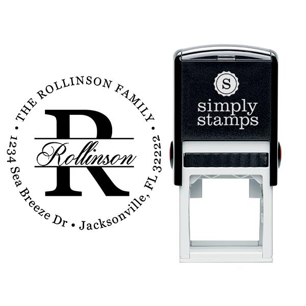 Round Letter Formal Script Address Stamp Body and Design