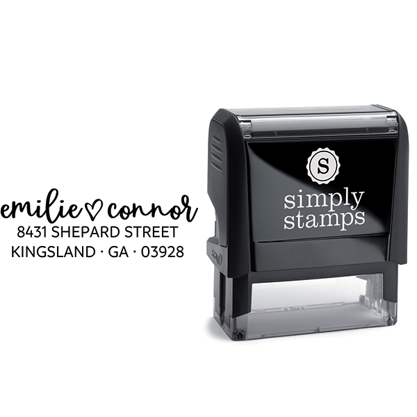 Shepard Script Return Address Stamp Body and Design