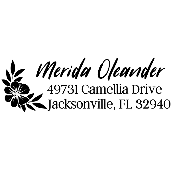 Oleander Floral Address Stamp