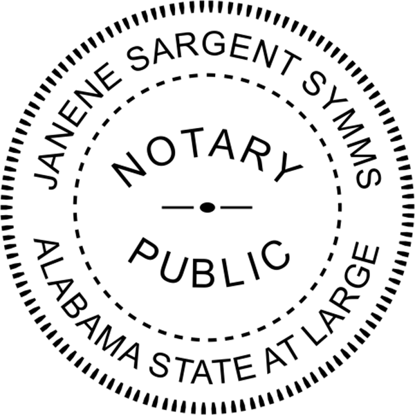 Alabama Notary Pink - Round Design Imprint Example