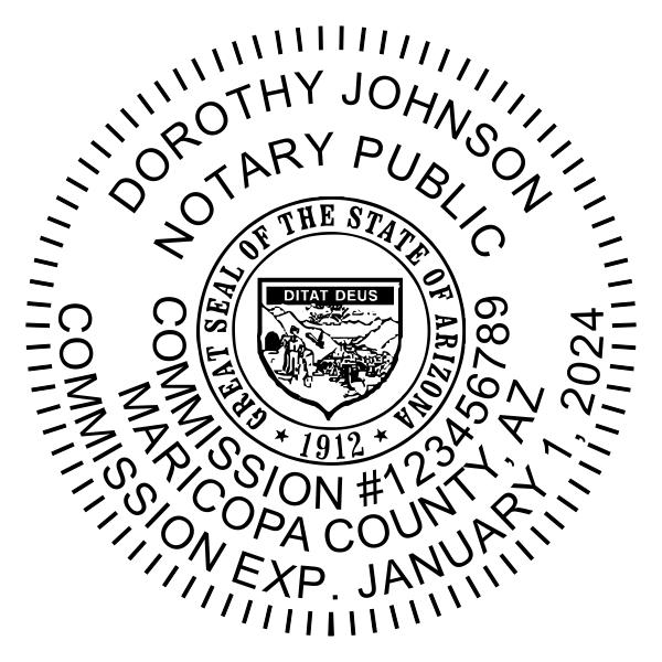 Arizona Notary Pink Stamp - Round Design