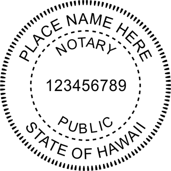 Hawaii Notary Pink - Round Design Imprint Example
