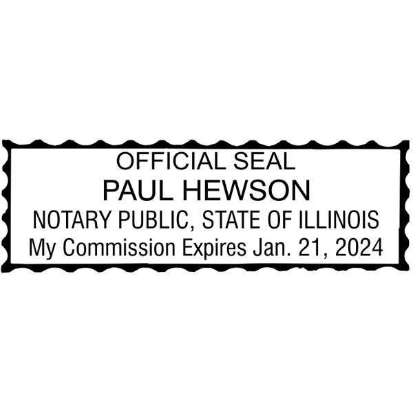 Illinois Notary Pink Stamp - Rectangle Imprint Example