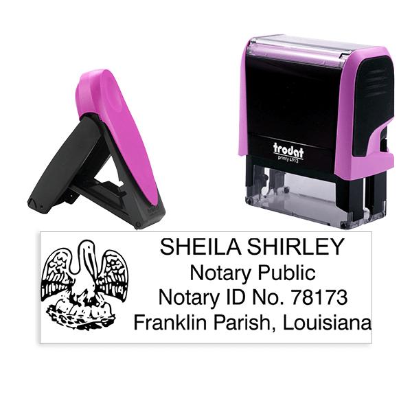 Louisiana Notary Pink Stamp - Rectangle