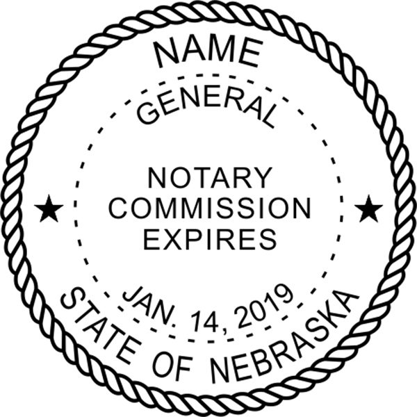Nebraska Notary Pink Stamp - Round Design Imprint Example