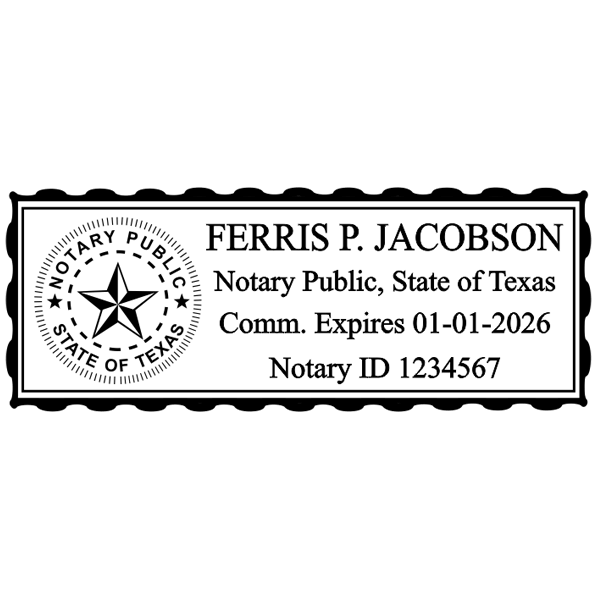 Texas Notary Pink Stamp - Rectangle Imprint Example