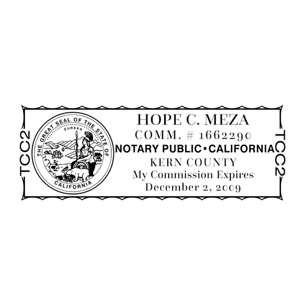 California Notary Rectangle Design Imprint Example