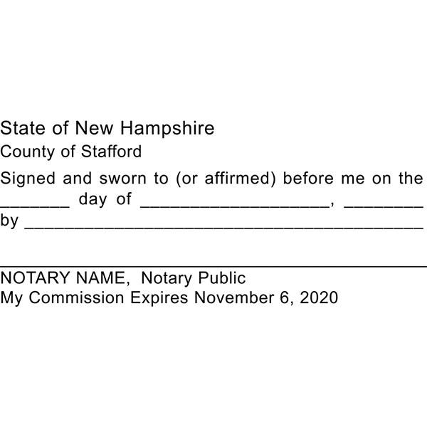 New Hampshire Jurat Notary Stamp Imprint Example