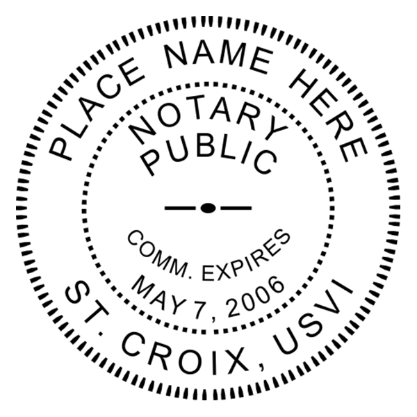 U.S. Virgin Islands Notary Pink Seal - Round Design Imprint Example