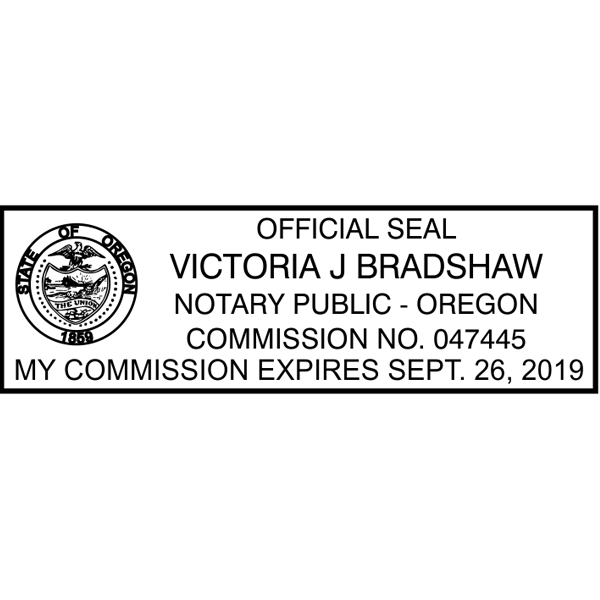 Oregon Notary Pink Stamp - Rectangle Imprint Example