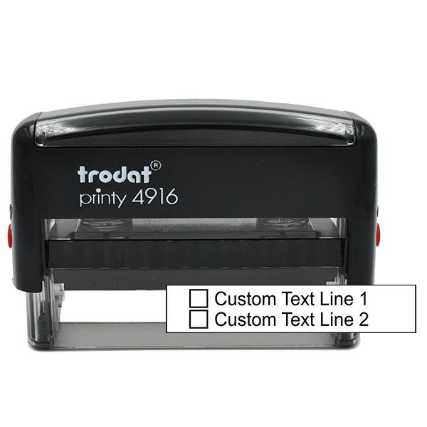 2 Line Checkbox Custom Rubber Stamp