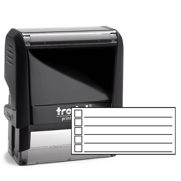 5 Line Checkbox Rubber Stamp
