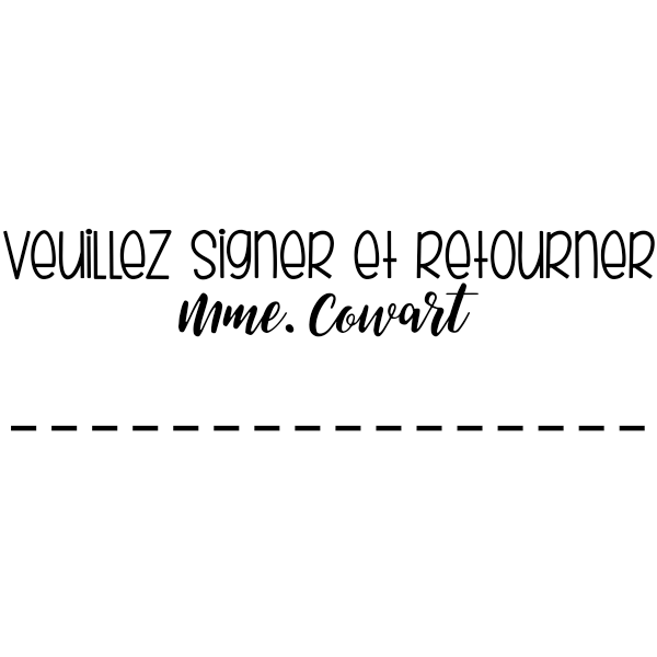 Sign and Return French Teacher Stamp