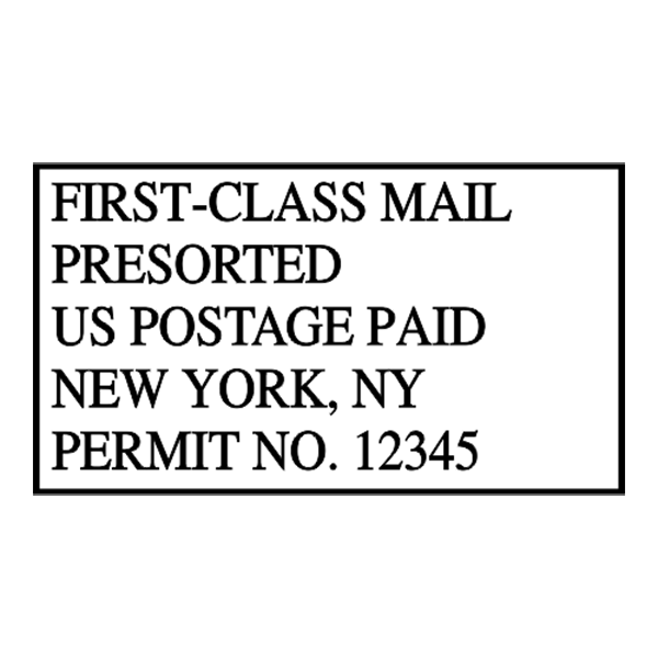 Pre-Sorted First Class Postage Paid Permit Stamp Imprint