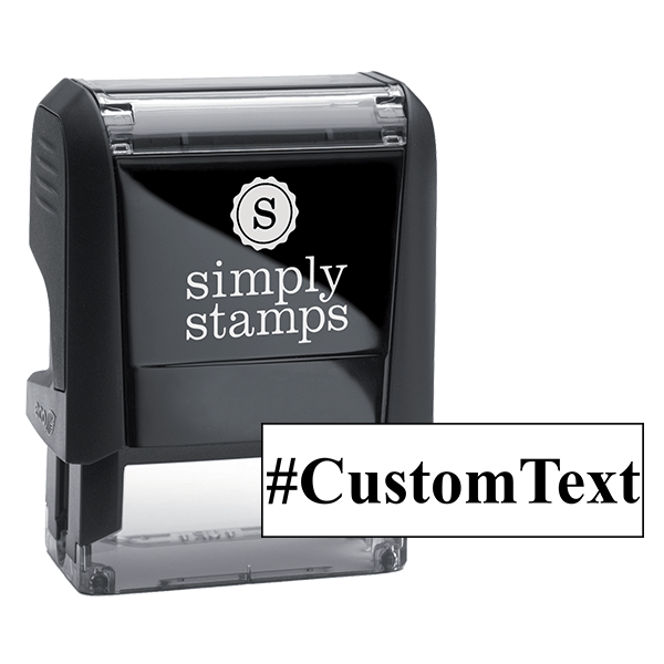 Custom Text Serif Hashtag Rubber Stamp Body and Design