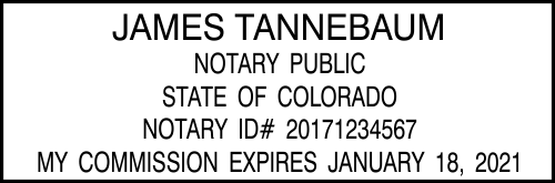 Colorado Notary rectangle rubber stamp