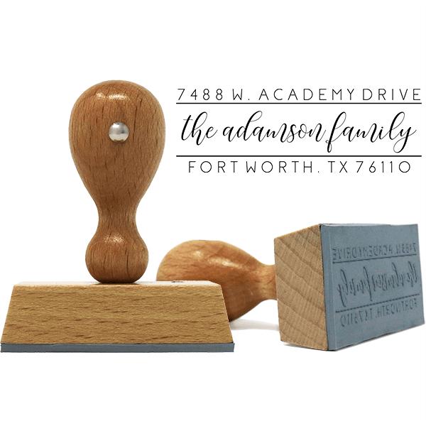 Adamson Dainty Script European Wood Handle Address Stamp Body and Design