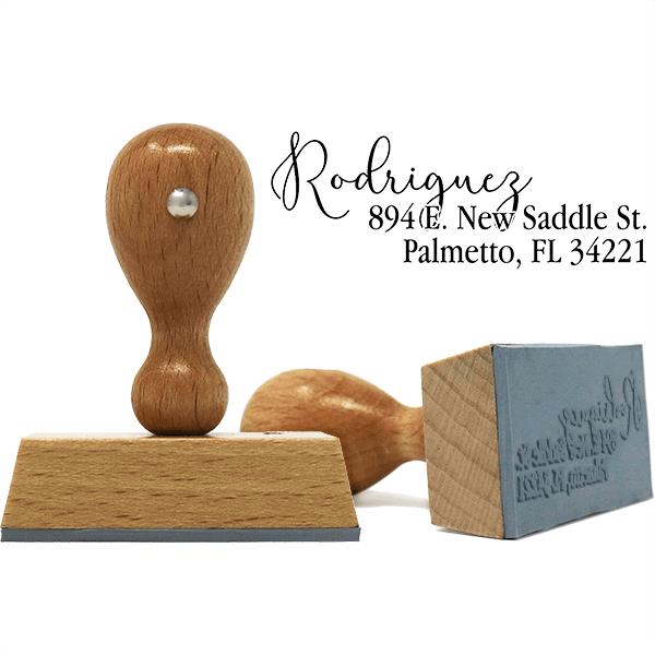 Script Overlay European Wood Handle Address Stamp Body and Design
