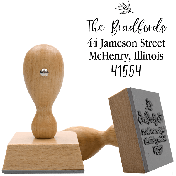 Olive Branch European Wood Handle Address Stamp Body and Design